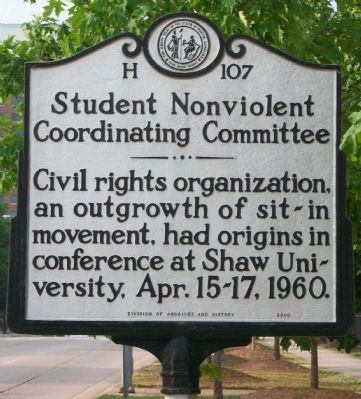 Student Nonviolent Coordinating Committee Marker image. Click for full size.