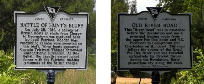 Battle of Hunt's Bluff / Old River Road Marker image. Click for full size.