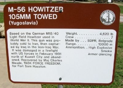 M-56 Howitzer 105mm Towed (Yugoslavia) Marker image. Click for full size.