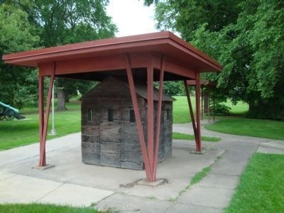 Apparent Civil War era prisoner cell near Camp Randall Marker (in background) image. Click for full size.