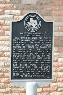 County Line Missionary Baptist Church Marker image. Click for full size.