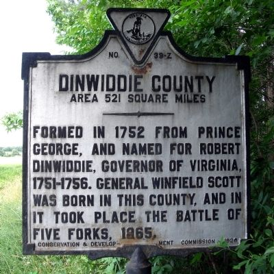 Dinwiddie County Marker (reverse) image. Click for full size.