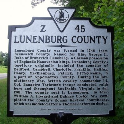 Lunenburg County Marker (obverse) image. Click for full size.