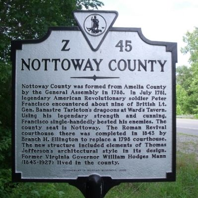 Nottoway County Marker (reverse) image. Click for full size.