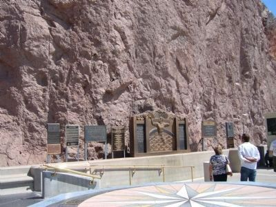 Row of markers at Hoover Dam image. Click for full size.