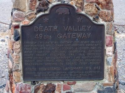 Death Valley 49ers Gateway Marker image. Click for full size.