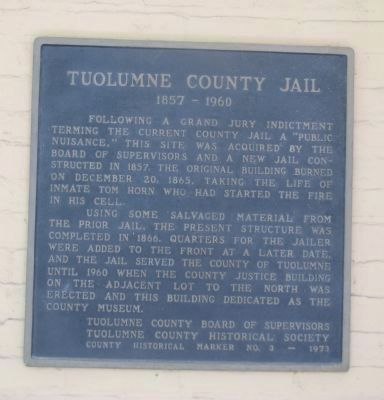 Tuolumne County Jail Marker image. Click for full size.