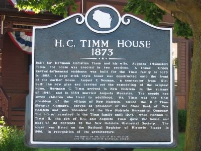 H. C. Timm House Marker image. Click for full size.