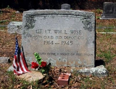 1st Lt. William L. Wise Tombstone image. Click for full size.