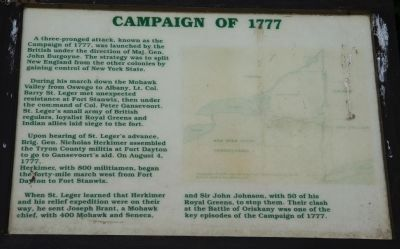 Campaign of 1777 Marker Photo, Click for full size