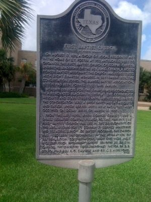 First Baptist Church of Corpus Christi Marker image. Click for full size.