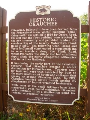 Historic Okauchee Marker image. Click for full size.