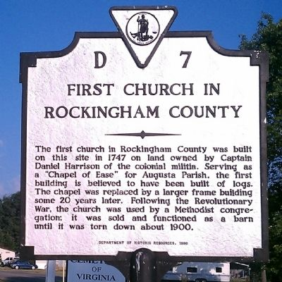 First Church in Rockingham County Marker Photo, Click for full size