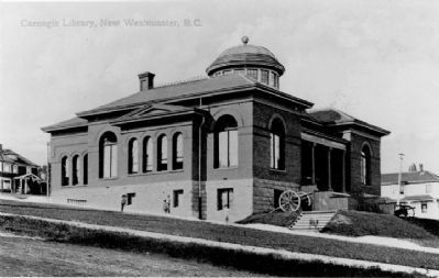 Carnegie Library in New Westminster, circa 1909 image. Click for full size.