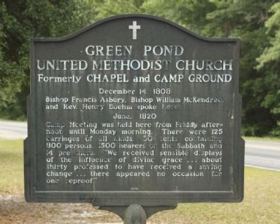 Green Pond United Methodist Church Marker image. Click for full size.