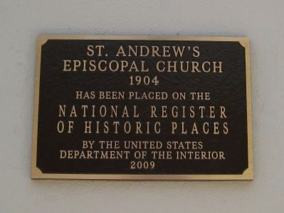 St. Andrew's Episcopal Church NRHP Plaque Photo, Click for full size