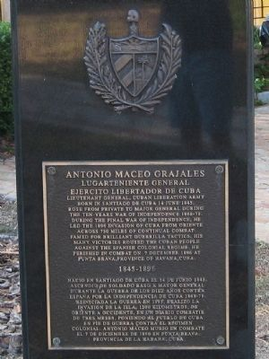 Antonio Maceo Grajales Marker image. Click for full size.