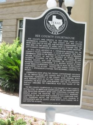 Bee County Courthouse Marker image. Click for full size.