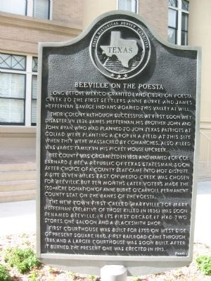 Beeville on the Poesta Marker image. Click for full size.