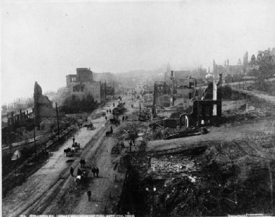 Columbia Street after the Great Fire image. Click for full size.