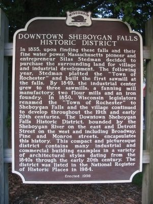 Downtown Sheboygan Falls Historic District Marker image. Click for full size.
