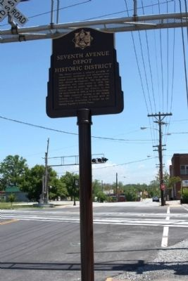 Seventh Avenue Depot Historic District Marker, looking northeast along 7th Avenue image. Click for full size.