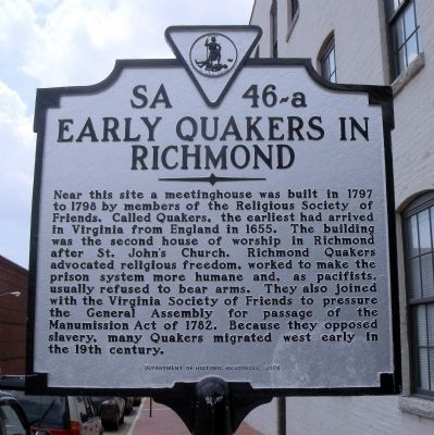 Early Quakers in Richmond Marker image. Click for full size.