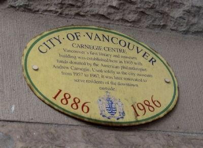 Carnegie Library Marker - Vancouver Centennial version Photo, Click for full size