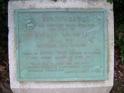 Arrowhead Home of Herman Melville Marker - Pittsfield, MA image. Click for full size.