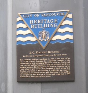 B.C. Electric Building Marker image. Click for full size.