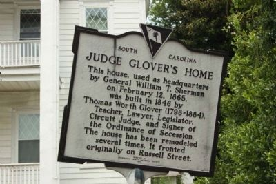 Judge Glover's Home Marker image. Click for full size.
