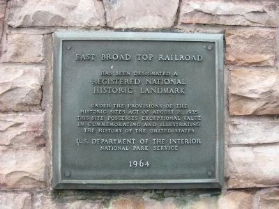 East Broad Top Railroad National Historic Landmark Plaque image. Click for full size.