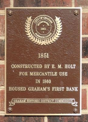 Graham's First Bank Marker image. Click for full size.