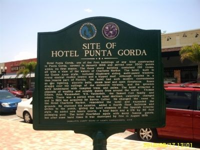 Site of Hotel Punta Gorda Marker image. Click for full size.