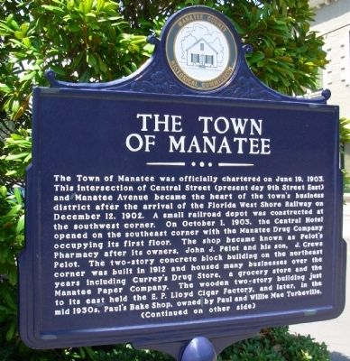 The Town of Manatee Marker image. Click for full size.