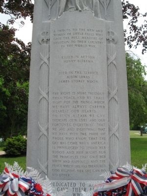 Little Falls Veterans Monument image. Click for full size.