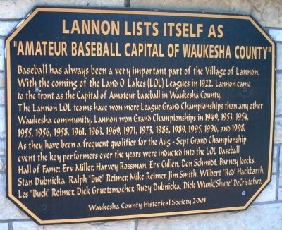 "Lannon Lists itself as ""Amateur Baseball Capital of Waukesha County"" Marker image. Click for full size."