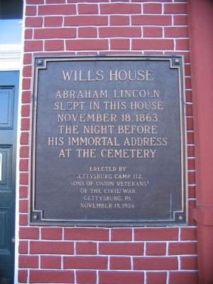 Wills House Marker image. Click for full size.
