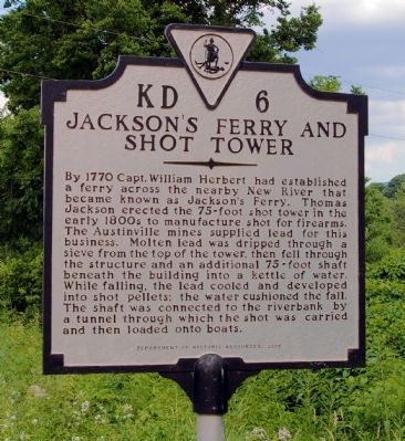 Jackson�s Ferry and Shot Tower Marker Photo, Click for full size
