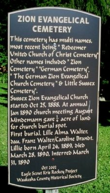 Zion Evangelical Cemetery Marker image. Click for full size.