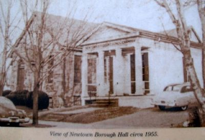 Photo on Newtown Borough Hall Marker image. Click for full size.