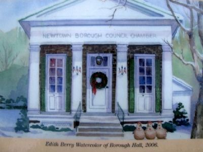 Painting on Newtown Borough Hall Marker image. Click for full size.