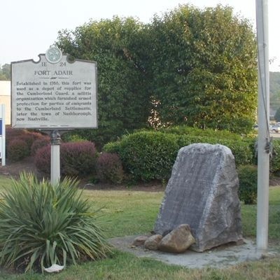Fort Adair Marker and DAR Stone image. Click for full size.