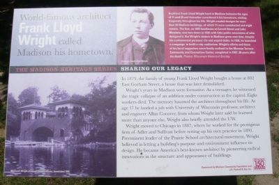 World-famous architect Frank Lloyd Wright called Madison his hometown Marker image. Click for full size.