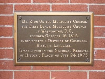 Mount Zion United Methodist Church - D. C. Landmark/National Register of Historic Places, 1975 image. Click for full size.