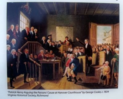 """Patrick Henry Arguing the Parsons' Cause at Hanover Courthouse"" image. Click for full size."