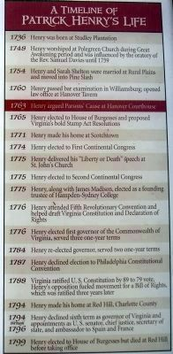 A Timeline of Patrick Henry's Life image. Click for full size.
