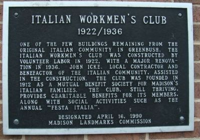 Italian Workmen's Club Marker image. Click for full size.