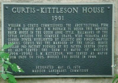 Curtis-Kittleson House Marker Photo, Click for full size