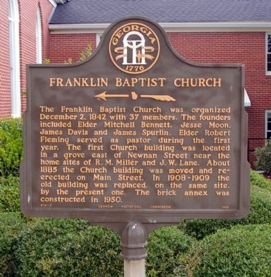 Franklin Baptist Church Marker image. Click for full size.